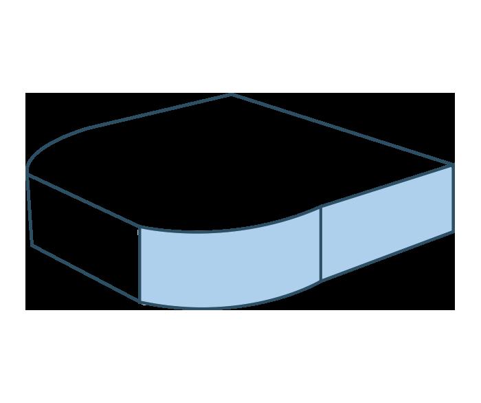 Espuma semicircular recto